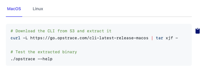 Tabs on Opstrace Documentation