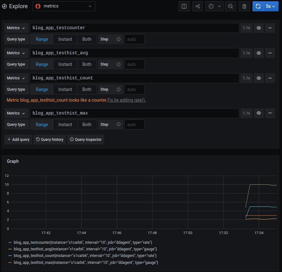 Screenshot of custom metrics plots