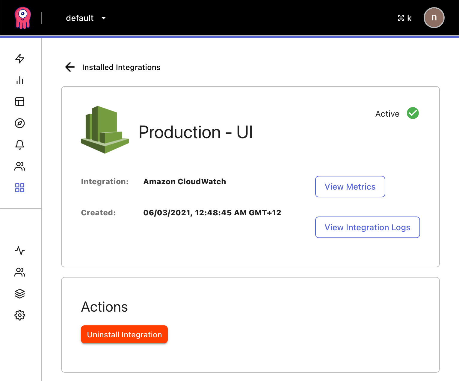 example: a successfully installed AWS integration