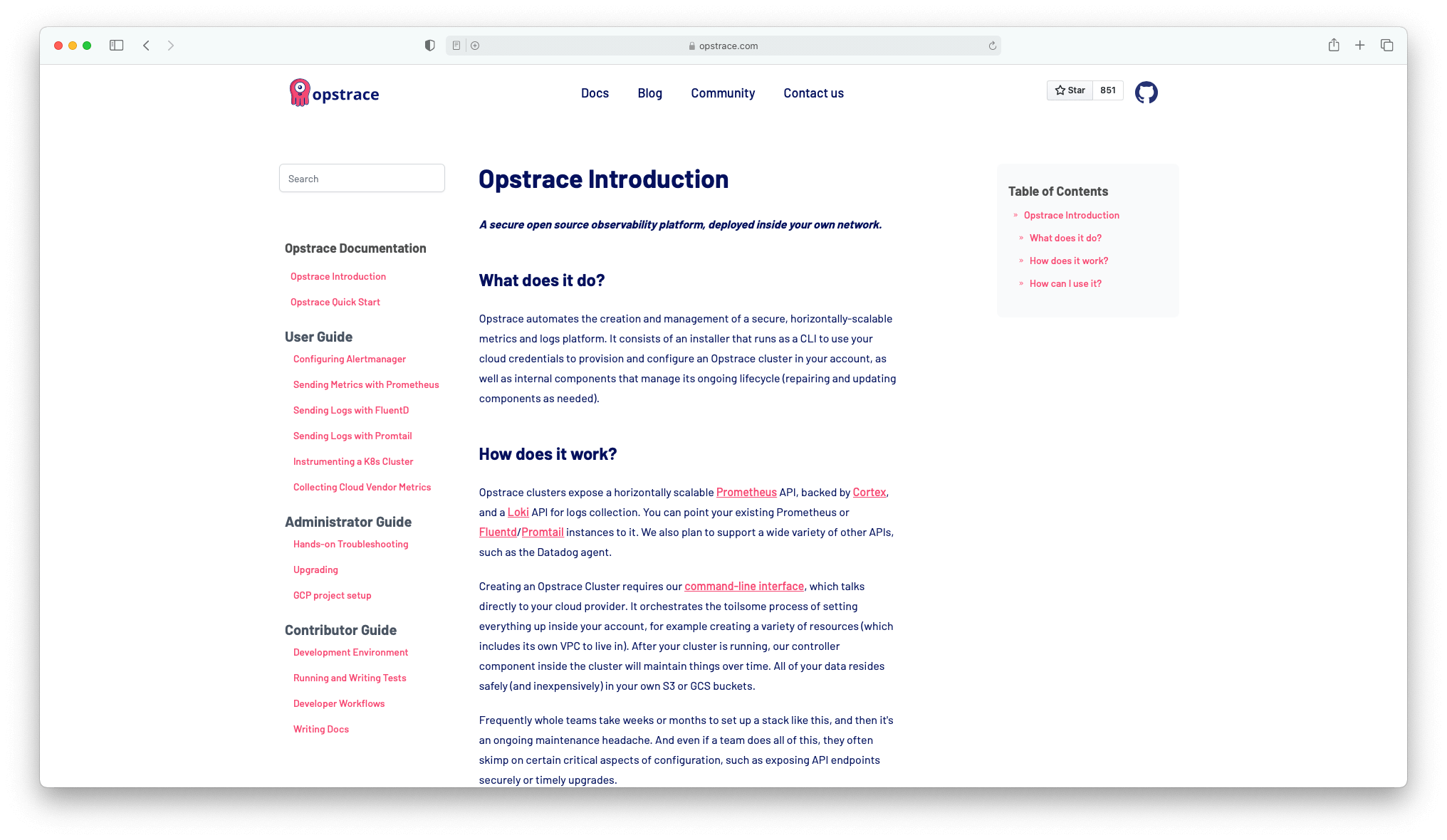 screenshot of the Opstrace documentation