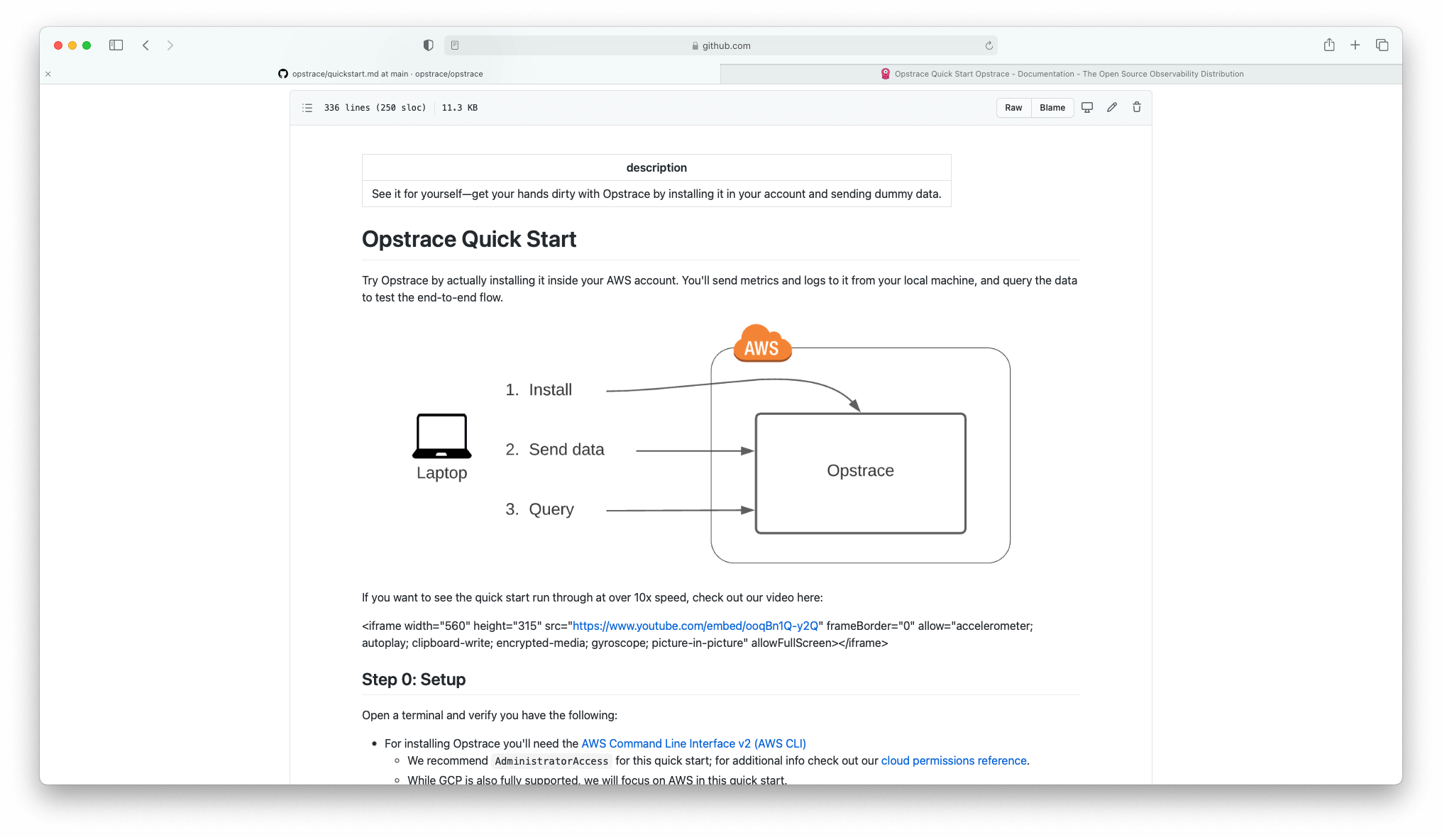 the opstrace quickstart guide on github