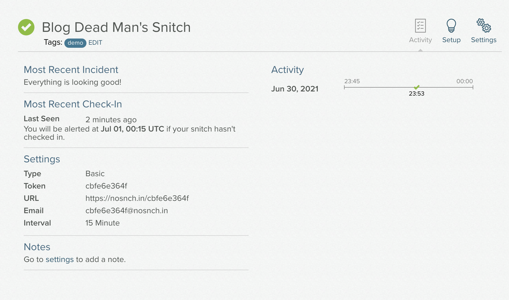 successful snitch activity