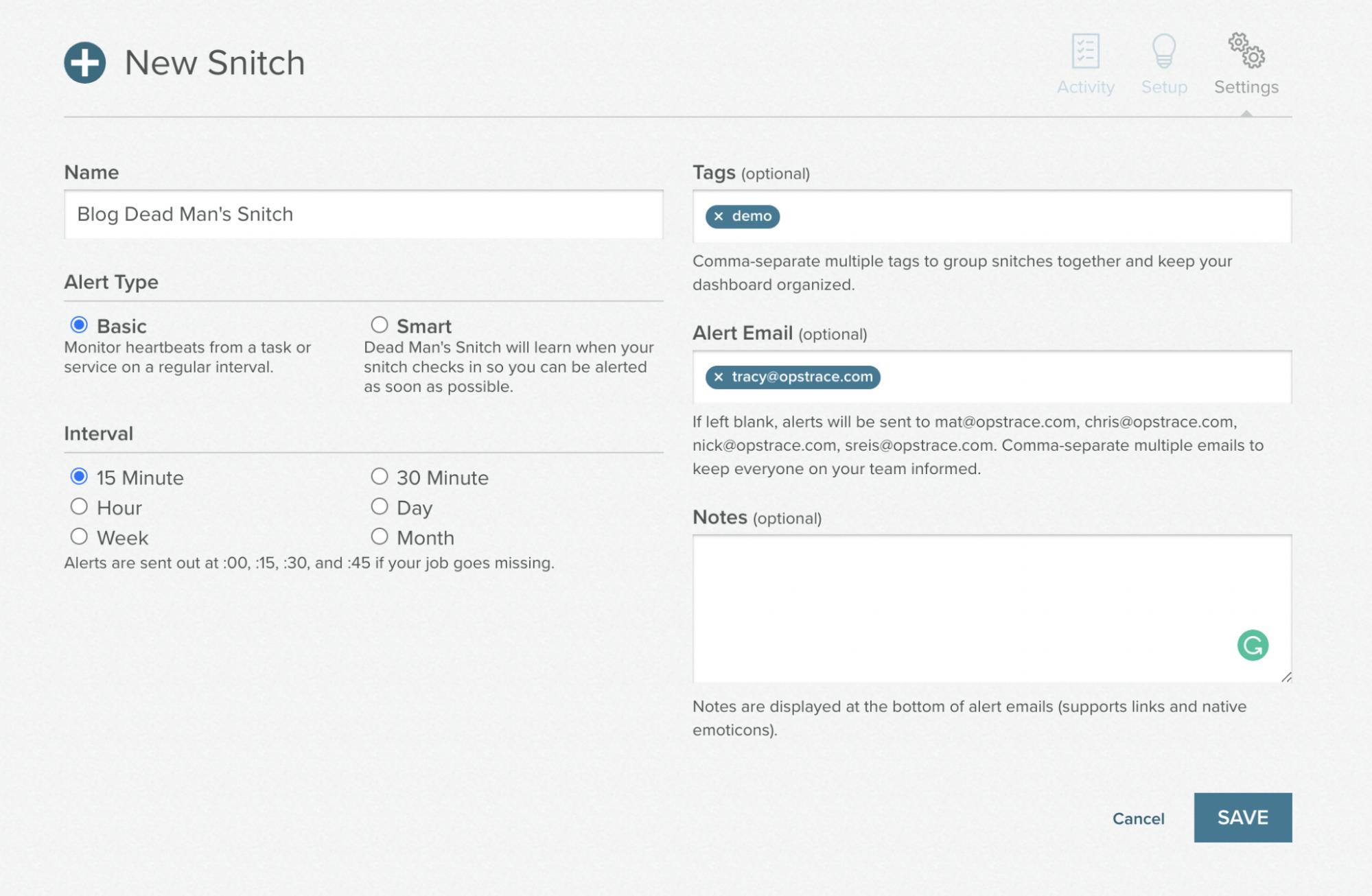 create a snitch at deadmanssnitch.com