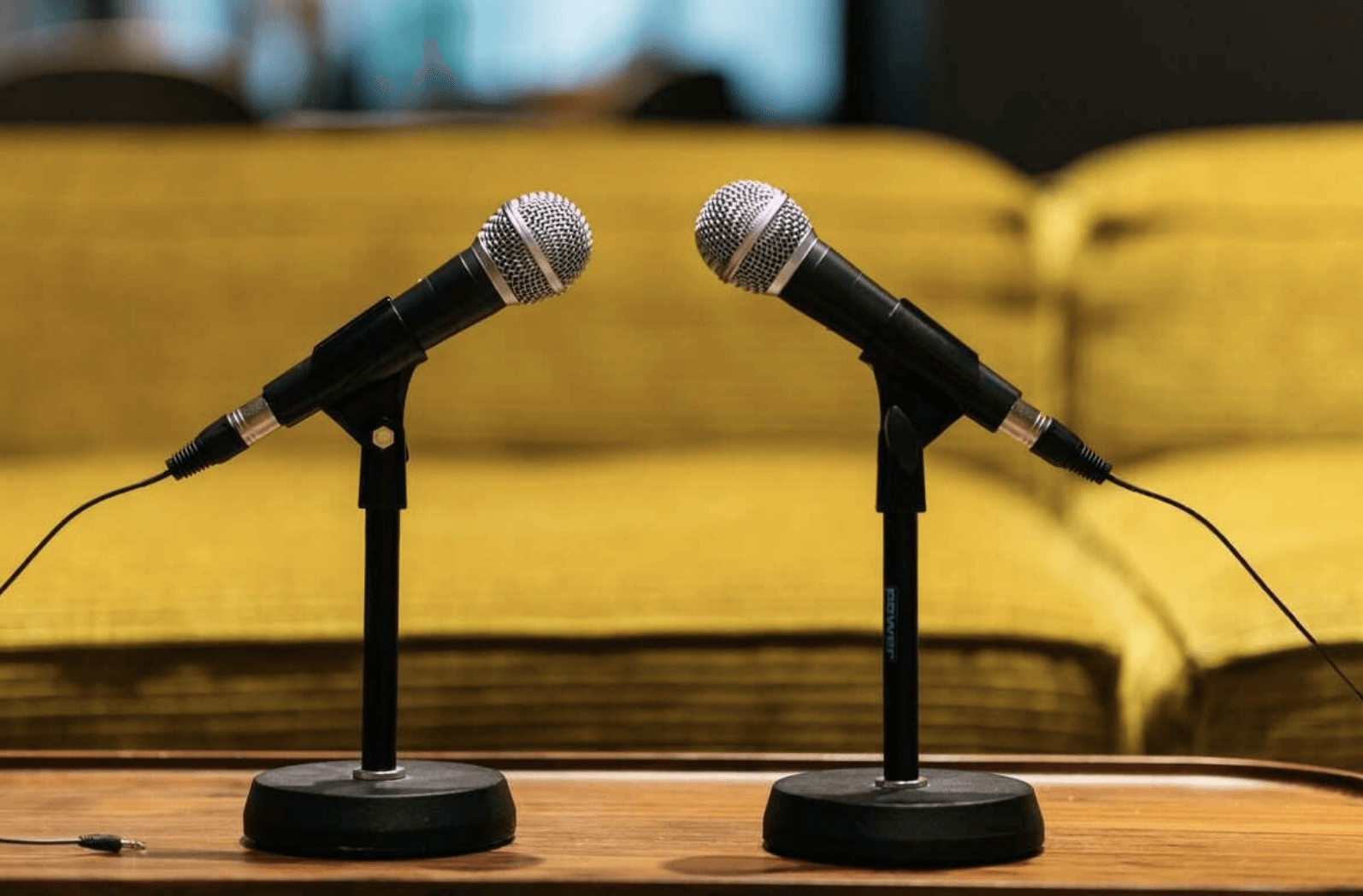 two microphones on a table